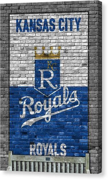 Mlb Canvas Print - Kansas City Royals Brick Wall by Joe Hamilton