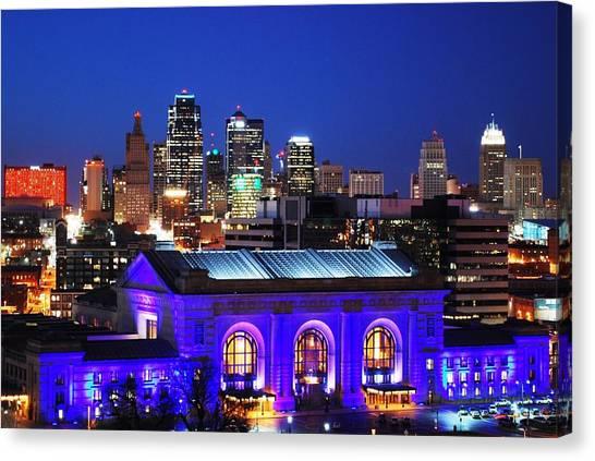 Kansas City Skyline At Night Canvas Print