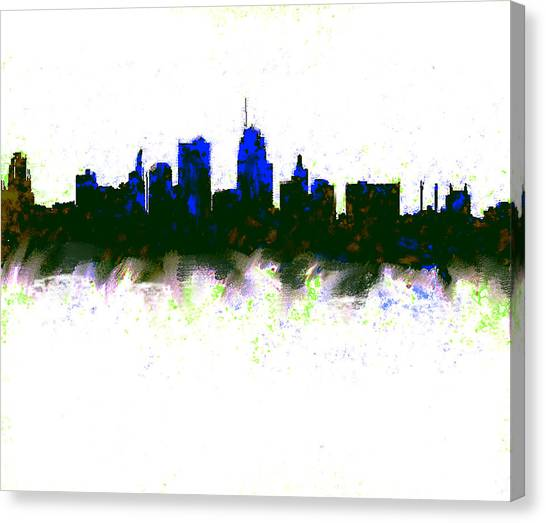 Ben Affleck Canvas Print - Kansas City Skyline Blue  by Enki Art