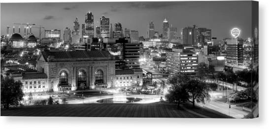 Kansas City Skyline Bw Canvas Print