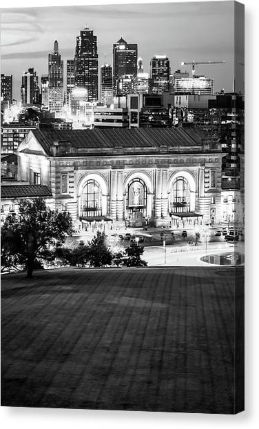 Kansas city missouri canvas print kansas city skyline cityscape vertical black and white by