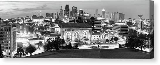 Kansas state canvas print kansas city skyline panorama at dusk in black and white by