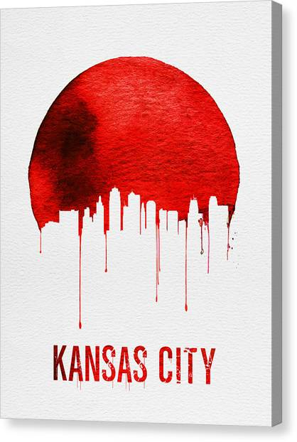 Missouri Canvas Print - Kansas City Skyline Red by Naxart Studio