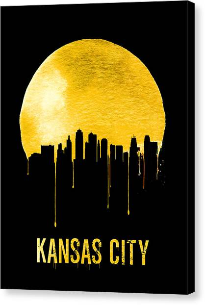 Missouri Canvas Print - Kansas City Skyline Yellow by Naxart Studio