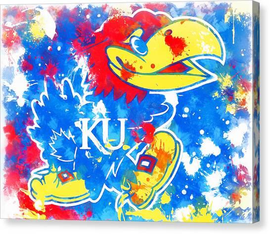 University Of Kansas Canvas Print - Kansas Jayhawks Splatter by Dan Sproul