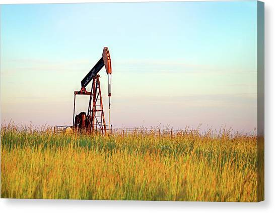 Kansas Oil Production Canvas Print by JC Findley