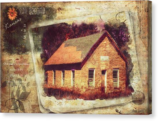 Kansas Old Stone Schoolhouse Canvas Print