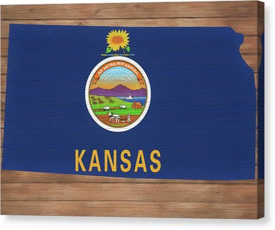 University Of Kansas Canvas Print - Kansas Rustic Map On Wood by Dan Sproul