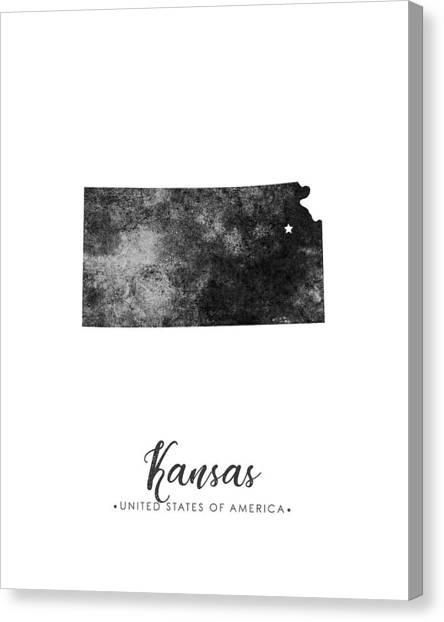 Kansas State Map Art - Grunge Silhouette Canvas Print