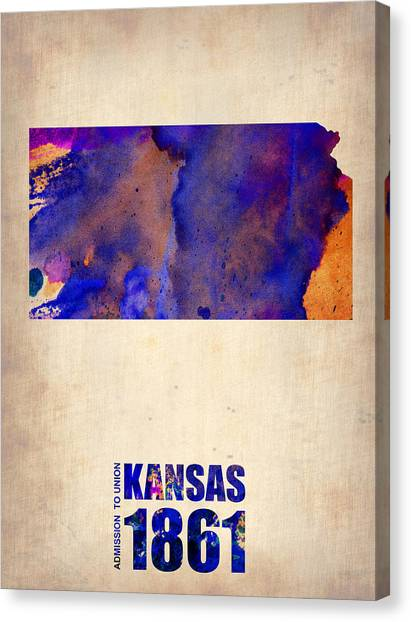Kansas Canvas Print - Kansas Watercolor Map by Naxart Studio