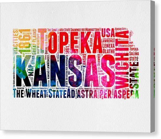 Kansas Canvas Print - Kansas Watercolor Word Map by Naxart Studio