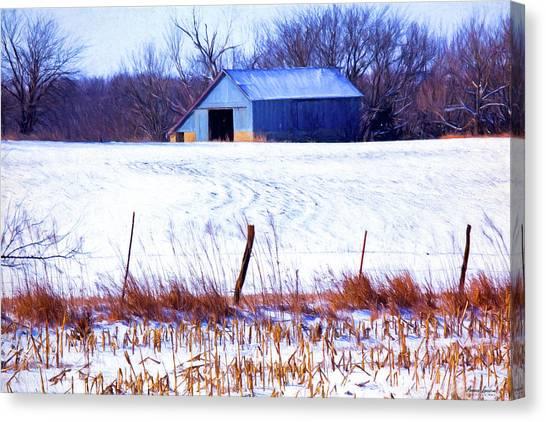 Kansas Winter Field Barn 1 Canvas Print