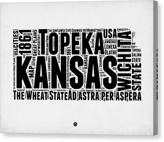 Independence Day Canvas Print - Kansas Word Cloud Map 2 by Naxart Studio