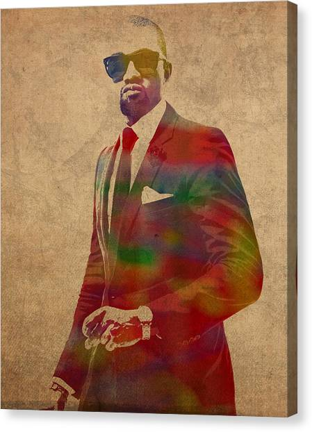 Kanye West Canvas Print - Kanye West Watercolor Portrait by Design Turnpike