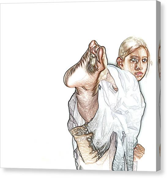 Jujitsu Canvas Print - Karate Girl Attact Pose by Sezer Akdeniz