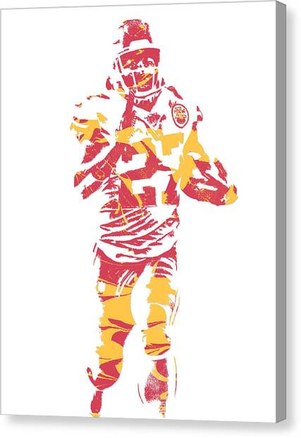 Kansas City Chiefs Canvas Print - Kareem Hunt Kansas City Chiefs Pixel Art 3 by Joe Hamilton