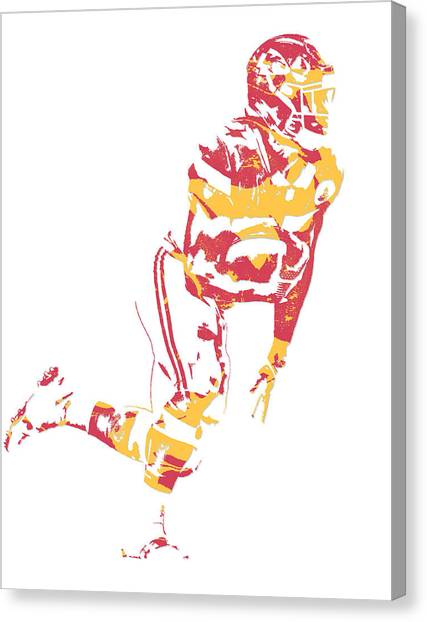 Kansas City Chiefs Canvas Print - Kareem Hunt Kansas City Chiefs Pixel Art 4 by Joe Hamilton