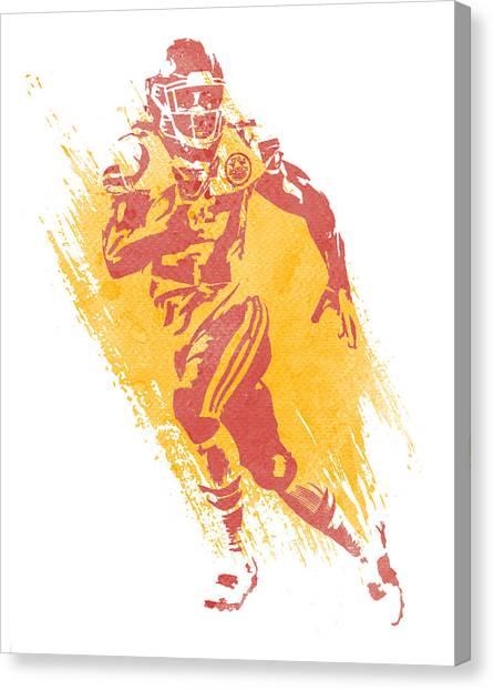 Kansas City Chiefs Canvas Print - Kareem Hunt Kansas City Chiefs Water Color Art 1 by Joe Hamilton