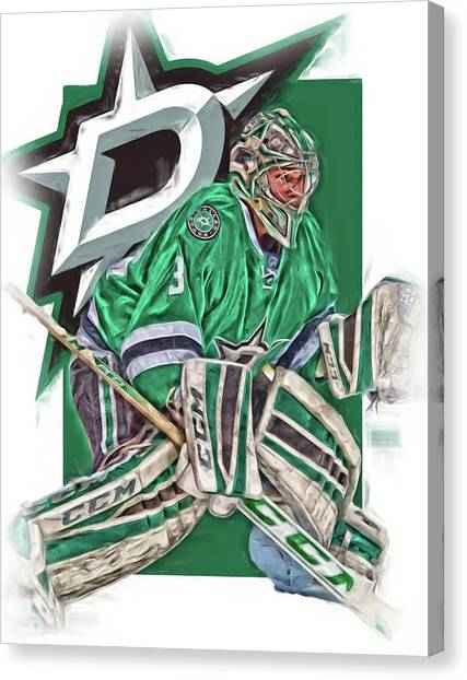 Dallas Stars Canvas Print - Kari Lehtnonen Dallas Stars Oil Art by Joe Hamilton