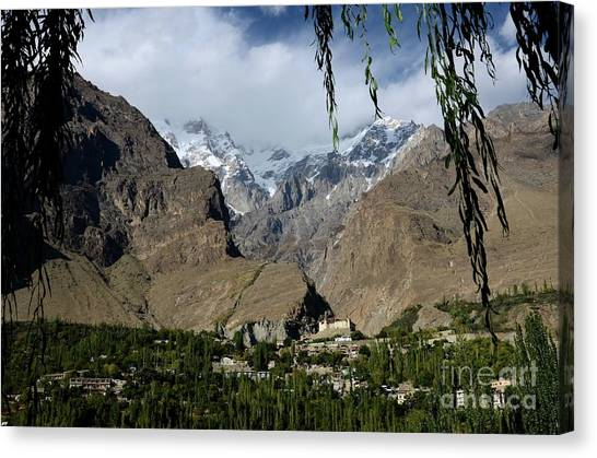 Hindu Kush Canvas Print - Karimabad Town And Baltit Fort With Mountains In Hunza Valley Gilgit Baltistan North Pakistan by Imran Ahmed