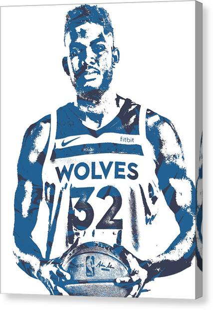 Minnesota Timberwolves Canvas Print - Karl Anthony Towns Minnesota Timberwolves Pixel Art 15 by Joe Hamilton
