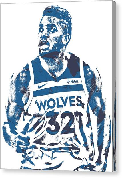 Minnesota Timberwolves Canvas Print - Karl Anthony Towns Minnesota Timberwolves Pixel Art 16 by Joe Hamilton