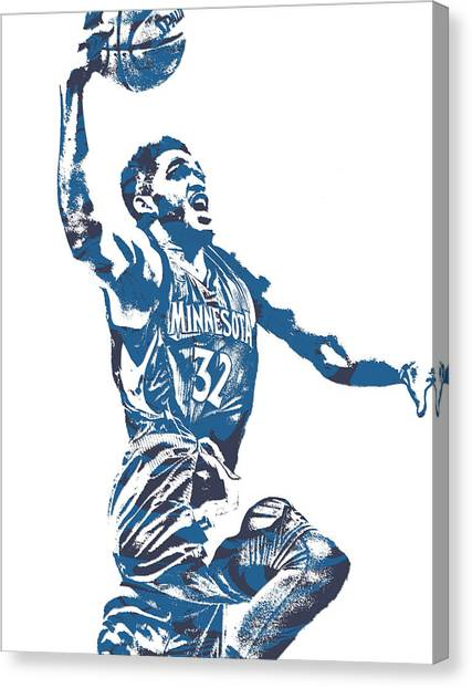 Minnesota Timberwolves Canvas Print - Karl Anthony Towns Minnesota Timberwolves Pixel Art 17 by Joe Hamilton