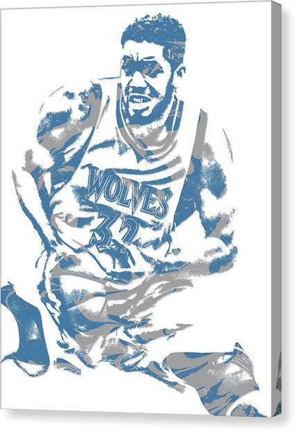 Minnesota Timberwolves Canvas Print - Karl Anthony Towns Minnesota Timberwolves Pixel Art 5 by Joe Hamilton