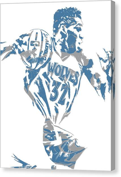 Minnesota Timberwolves Canvas Print - Karl Anthony Towns Minnesota Timberwolves Pixel Art 8 by Joe Hamilton
