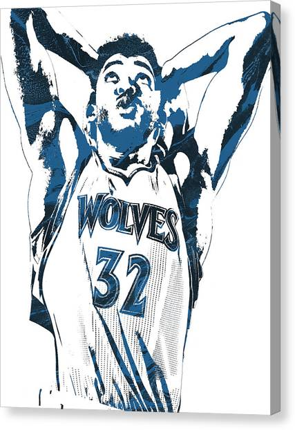 Minnesota Timberwolves Canvas Print - Karl Anthony Towns Minnesota Timberwolves Pixel Art by Joe Hamilton