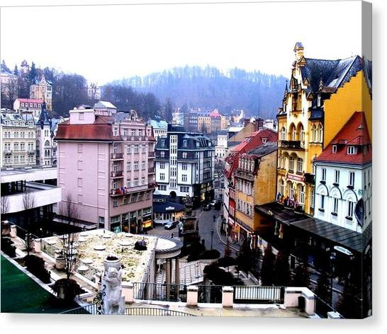 Canvas Print featuring the photograph Karlovy Vary Cz by Michelle Dallocchio