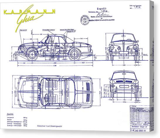 Car blueprint canvas prints page 4 of 25 fine art america car blueprint canvas print karmann ghia blueprint by jon neidert malvernweather Gallery