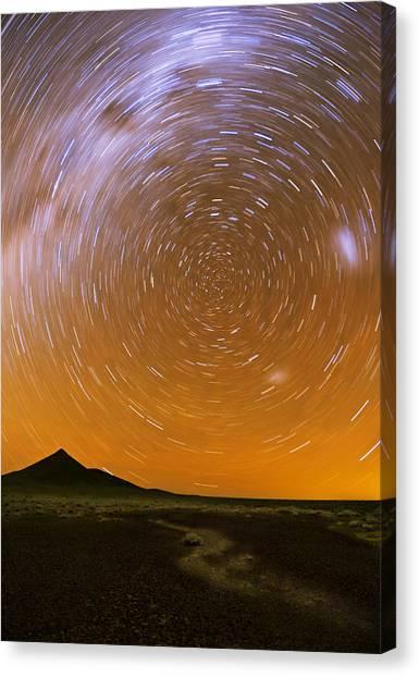 Karoo Desert Star Trail 01 Canvas Print by Basie Van Zyl