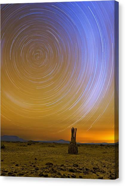 Karoo Desert Star Trails Canvas Print by Basie Van Zyl