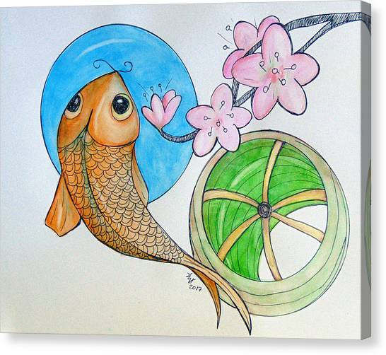 Karp And Cherry Blooms Canvas Print