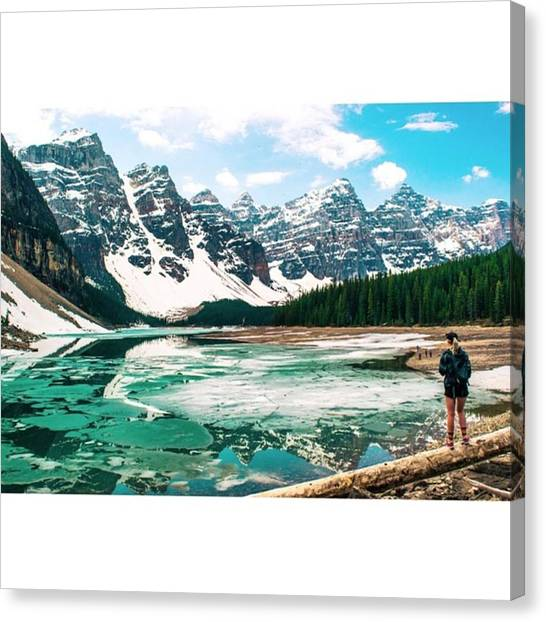 Star Trek Canvas Print - Kate & The Icy Moraine Lake - Banff by Scotty Brown