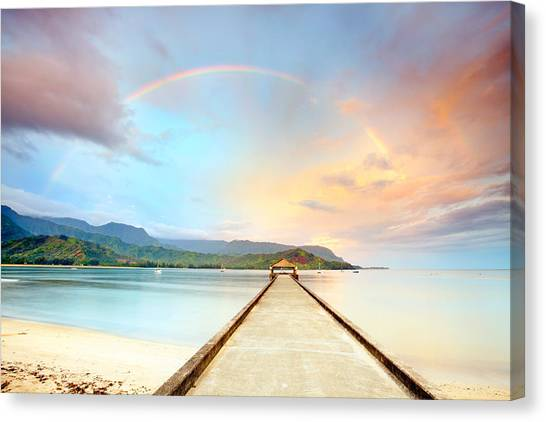 Hawaii Canvas Print - Kauai Hanalei Pier by Monica and Michael Sweet