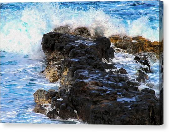 Kauai Rock Splash Canvas Print