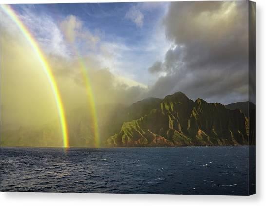 Kauai Sunset Rainbow Canvas Print