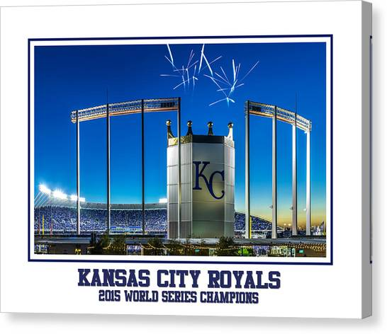 Kansas City Royals Canvas Print - Kauffman Victory by Tracy Rollins