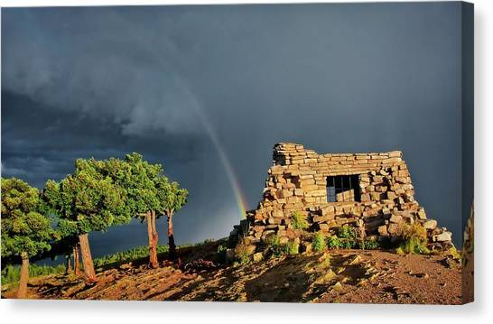 Kawanis Cabin Rainbow, Sandia Crest, New Mexico Canvas Print