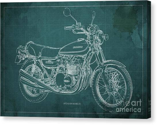 Arte Canvas Print - Kawasaki Motorcycle Blueprint, Mid Century Art Print by Drawspots Illustrations
