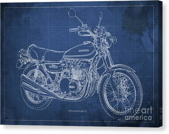 Arte Canvas Print - Kawasaki Motorcycle Blueprint, Mid Century Blue Art Print by Drawspots Illustrations