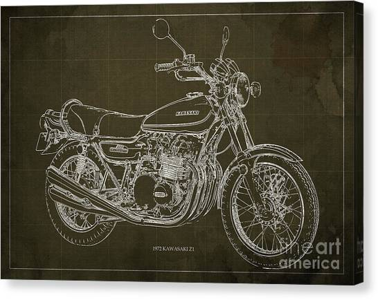 Arte Canvas Print - Kawasaki Motorcycle Blueprint, Mid Century Brown Art Print by Drawspots Illustrations
