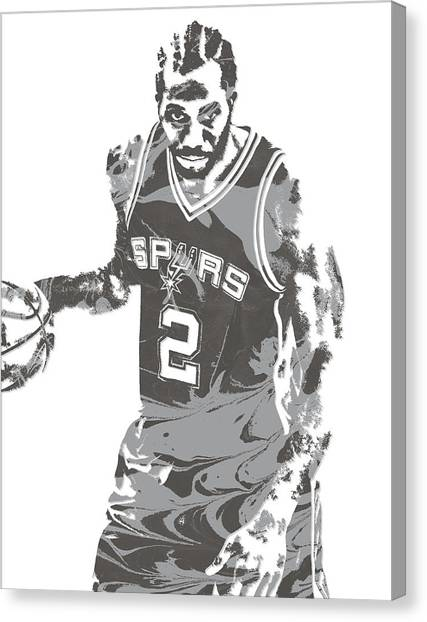 Spurs Canvas Print - Kawhi Leonard San Antonio Spurs Pixel Art 15 by Joe Hamilton
