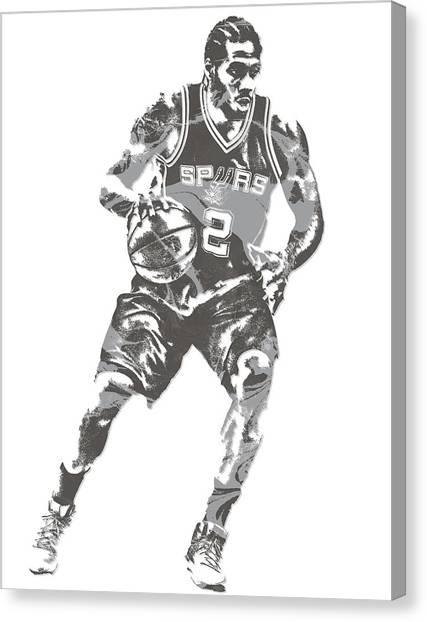 Spurs Canvas Print - Kawhi Leonard San Antonio Spurs Pixel Art 16 by Joe Hamilton