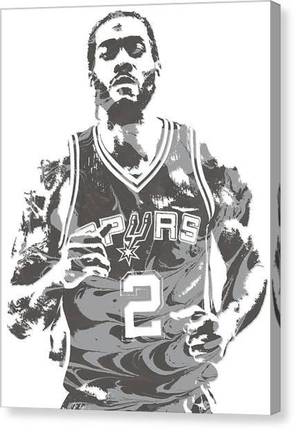 Spurs Canvas Print - Kawhi Leonard San Antonio Spurs Pixel Art 18 by Joe Hamilton