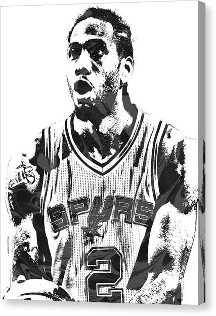 Spurs Canvas Print - Kawhi Leonard San Antonio Spurs Pixel Art 4 by Joe Hamilton
