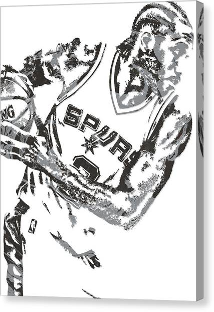 Spurs Canvas Print - Kawhi Leonard San Antonio Spurs Pixel Art 5 by Joe Hamilton