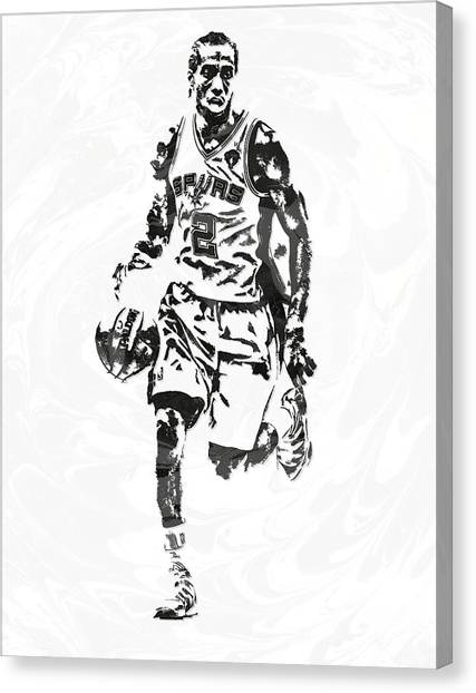 Spurs Canvas Print - kawhi leonard san antonio spurs PIXEL ART 6 by Joe Hamilton